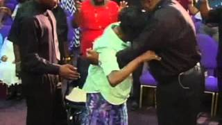 Word of Life Community Church-Lady gets out of wheelchair during service 061613