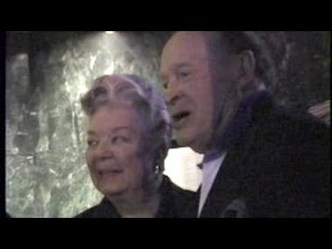 BOB HOPE dines with 1940s film star FRANCES LANGFORD -- 1995
