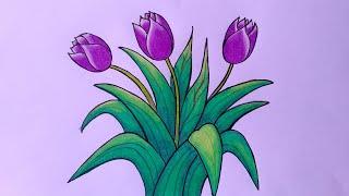 Cara Menggambar Bunga Tulip Cara Menggambar Bunga Yang Bagus Youtube