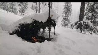 Winter bushcraft survival chaĮlenge building primitive shelter, Axe, cooking, (silent)