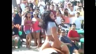 Girl in Thong Rides Mechanical Bull