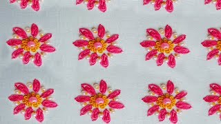 all over design hand embroidery for dress| oyster stitch,pearl bead...