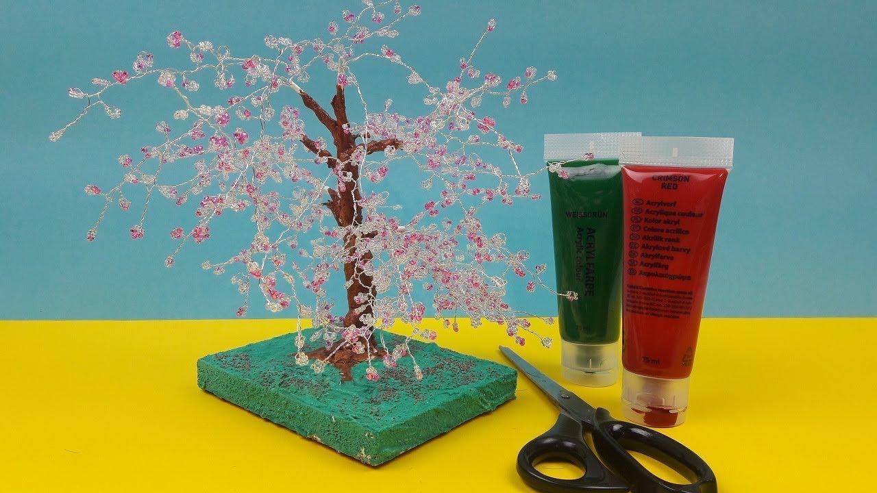 Kirschbaum Selber Basteln | Baum Selber Machen Aus Perlen Und Draht | Bäume  Gestalten | Anleitung