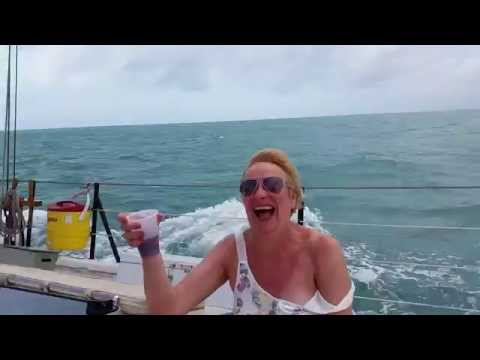 Wind blows off ladies t-shirt at Key West - almost