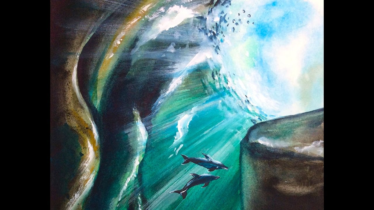 Watercolor Underwater Cave Painting Demonstration - YouTube
