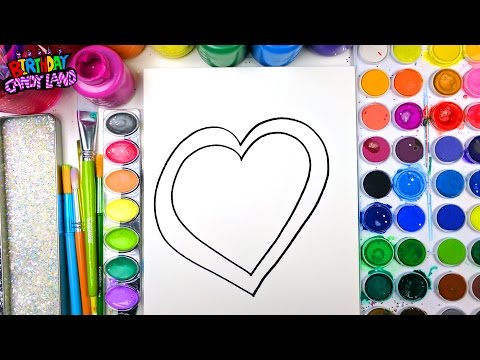 Thumbnail: Coloring Page of Valentines Day Heart for Kids to Learn to Color and Paint with Watercolor