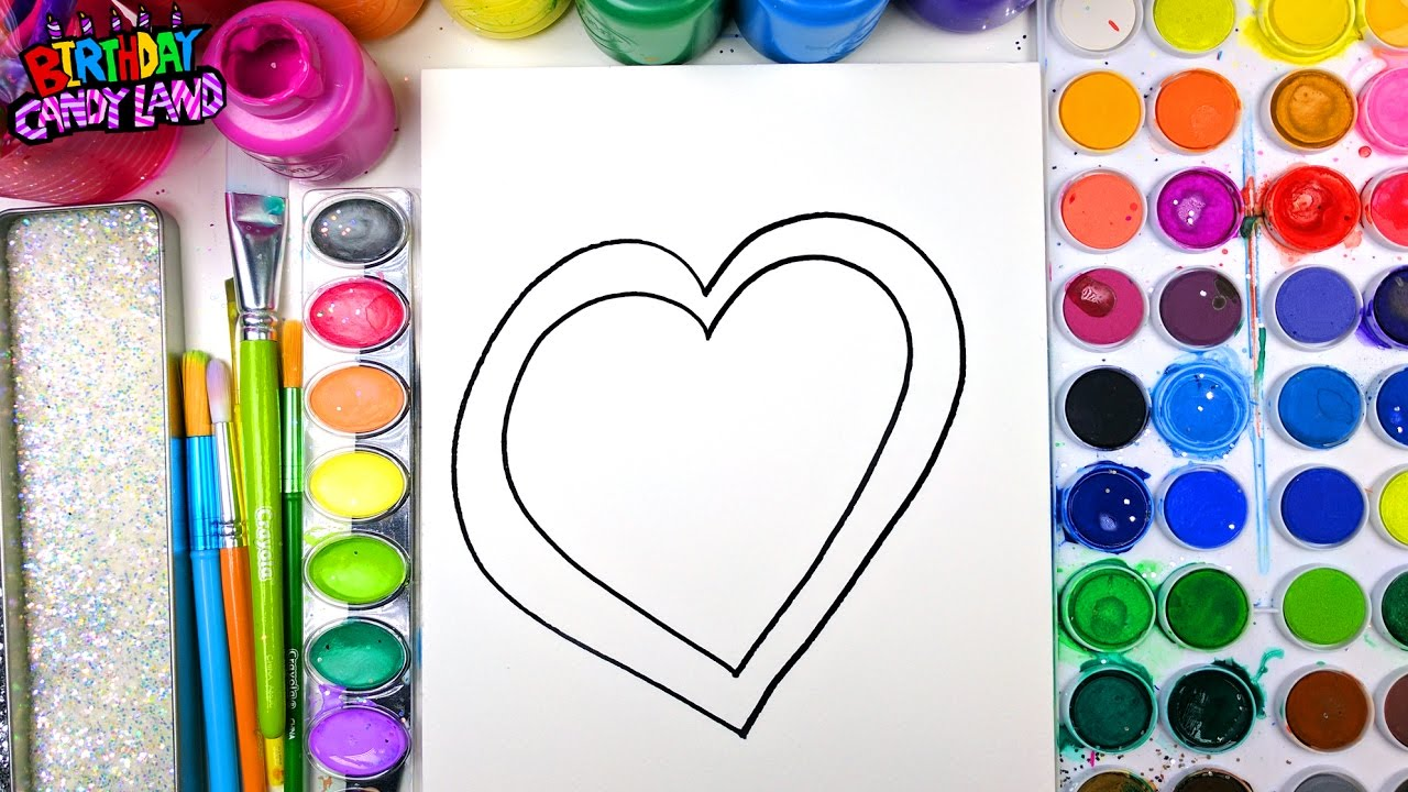 Coloring Page of Valentines Day Heart for Kids to Learn to Color and Paint  with Watercolor
