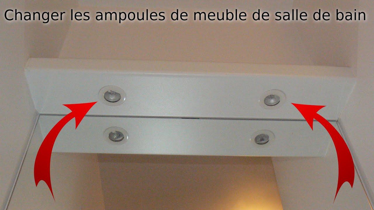 comment changer les ampoules de spots de meuble de salle de bain a vasque disques blancs
