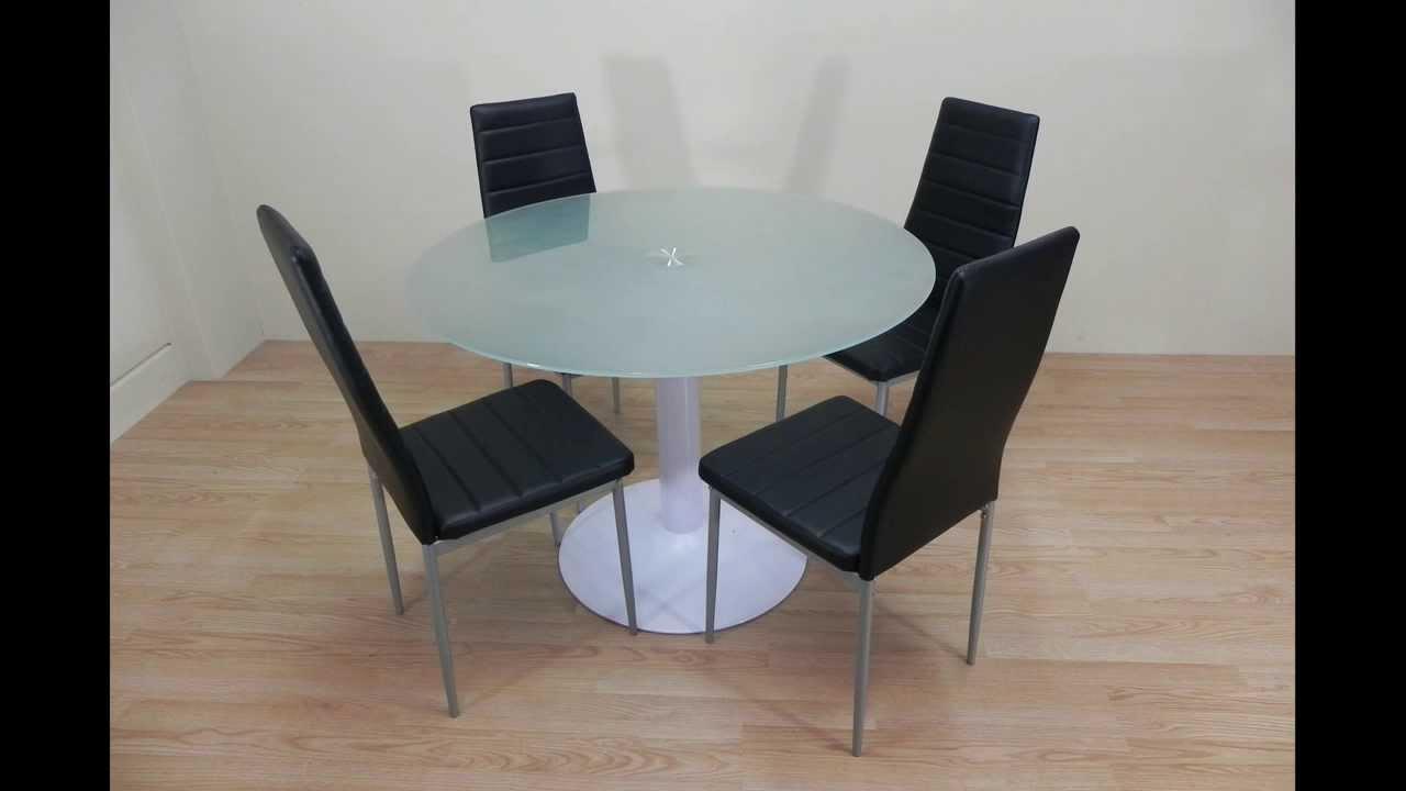 Descatalogado pack mesa redonda de cristal blanco for Mesas redondas de cristal