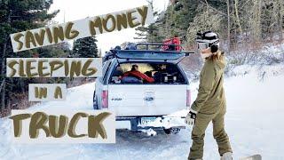 Winter Truck Camping in Montana (Snowboarding Trip)