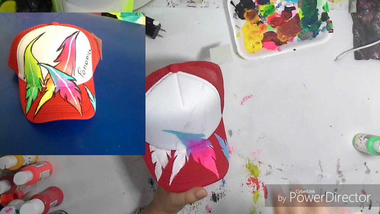 Sombreros pintados a mano igual a gorras pintadas a mano - YouTube 356914d1d77