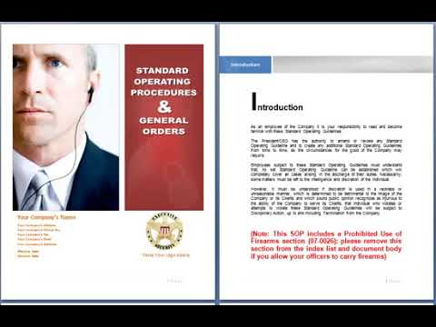 Standard Operating Procedures For Security Business Security Guard Company SOP