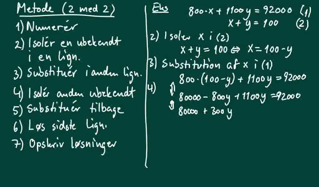 Sådan løses to ligningermed to ubekendte med substitutionsmetoden