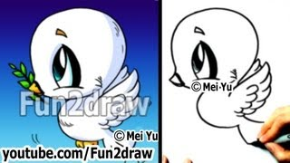 Real Time Drawing Tutorial - How to Draw a Bird - Cute Dove! - Draw Animals - Fun2draw