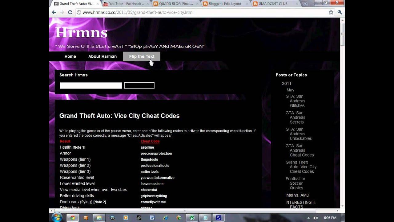 All Grand Theft Auto: Vice City Cheat Codes - YouTube