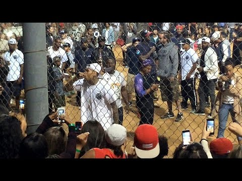 Chris Brown Kickball 7-19-14 Singing & Thanking Fans with Quincy