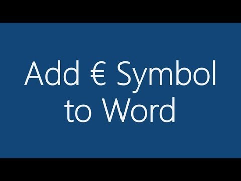 How do I add the Euro symbol to MS Word?