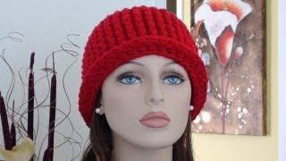 Repeat youtube video CHY Ribbed Crochet Hat - How to Crochet Ribbed Crochet Hat