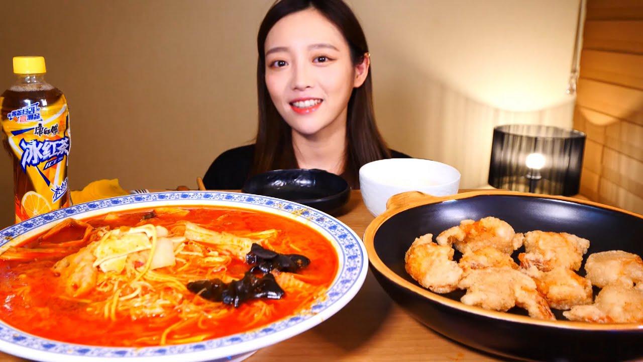 꾸덕바삭한 크림새우와 매운마라탕 먹방🍜🍤 / Mukbang Eating Show