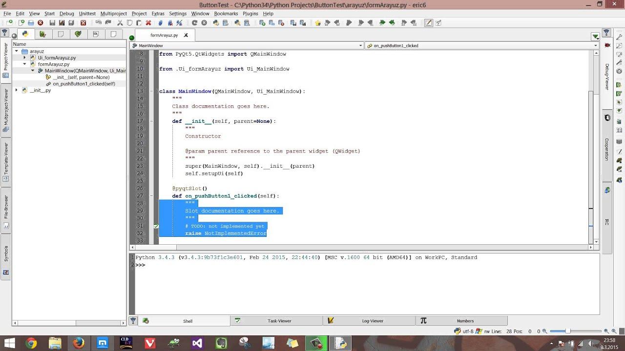 Eric 6'da Python 3 4 ve PyQt5 arayüz yapma