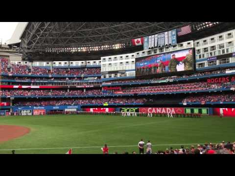 Toronto Blue Jays Canada Day 150 National Anthems Flag Reveal July 1st, 2017 Rogers Centre