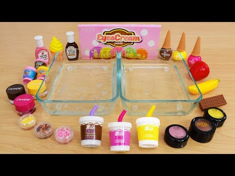 Chocolate Strawberry Banana Mixing Makeup Eyeshadow Into Slime Special Series Satisfying Slime Video