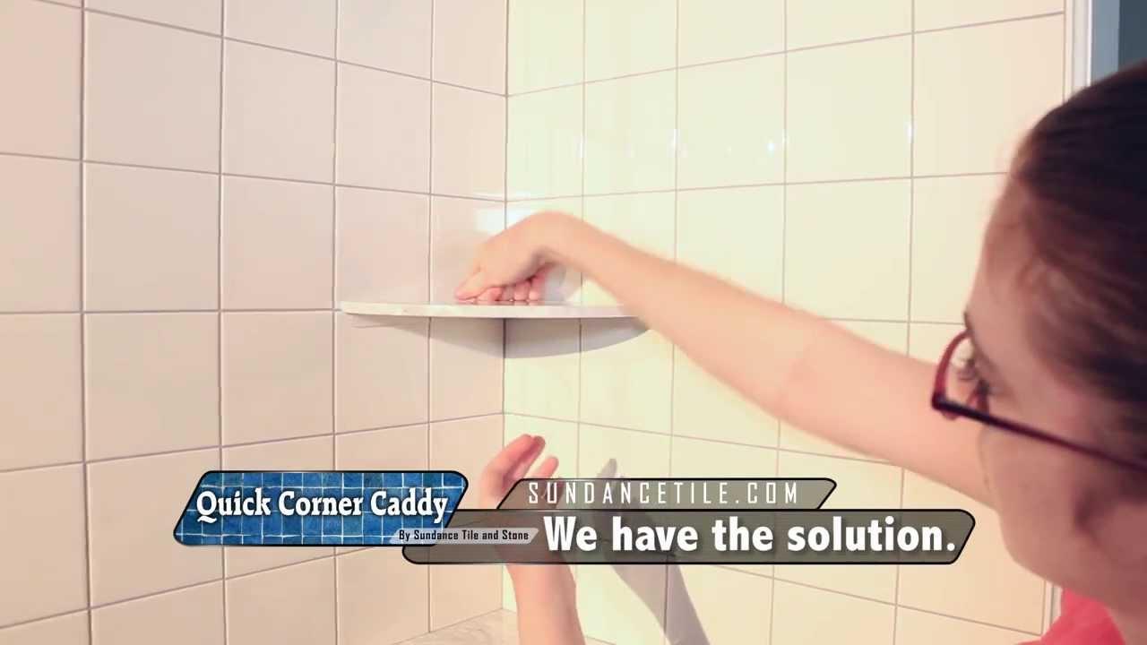 installing a shower corner shelf on existing tile