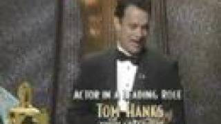 "Tom Hanks winning an Oscar® for ""Philadelphia"""