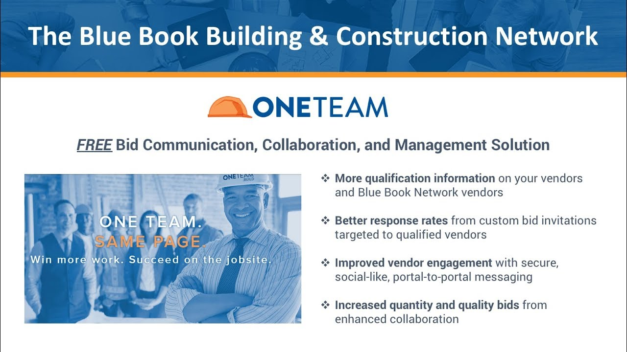 Construction Blue Book >> Bid Communication Collaboration And Management In Oneteam