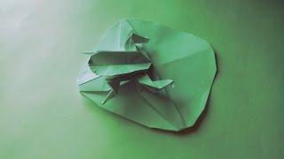 Как сделать из бумаги лягушку (Frog on Lily Pad Origami)
