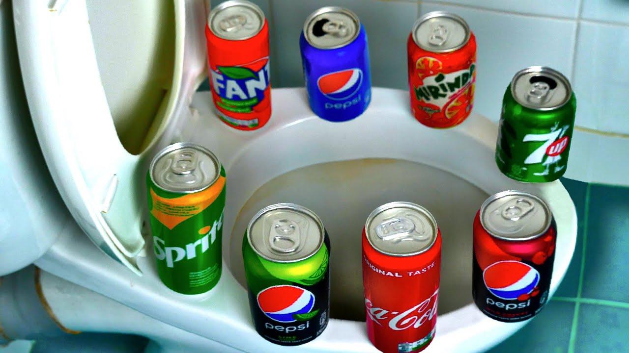 Toilet IMPLOSION Experiment: Coca-Cola, 7up, Pepsi, Sprite, Fanta and Mentos Reaction