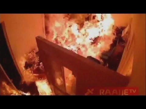 CCTV captures masked men setting fire to Maldives TV station
