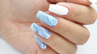 Snowy Winter Blue quartz nails art tutorial / Elisium