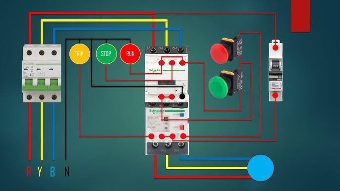 three phase dol starter Control overload Indicator Power Wiring diagram -  YouTube