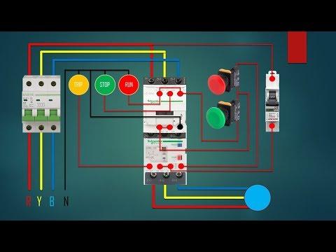 Three Phase Dol Starter Control Overload Indicator Power Wiring Diagram Youtube