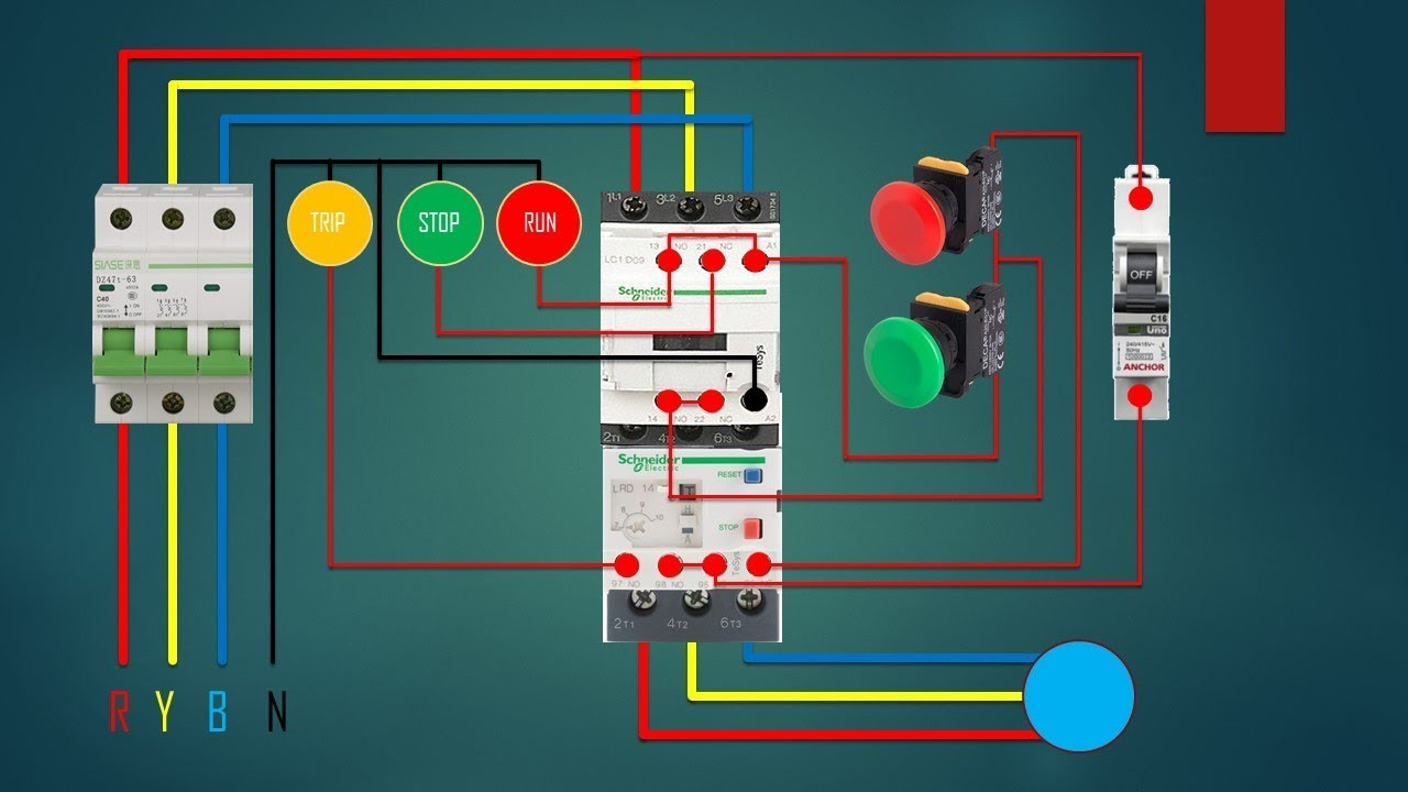 three phase dol starter control overload indicator power wiring dol panel diagram [ 1280 x 720 Pixel ]
