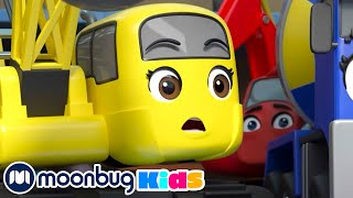 Fire at the Construction Site - Ashley Saves the Day! | BRAND TAG | Excavator | Song | MOONBUG KIDS