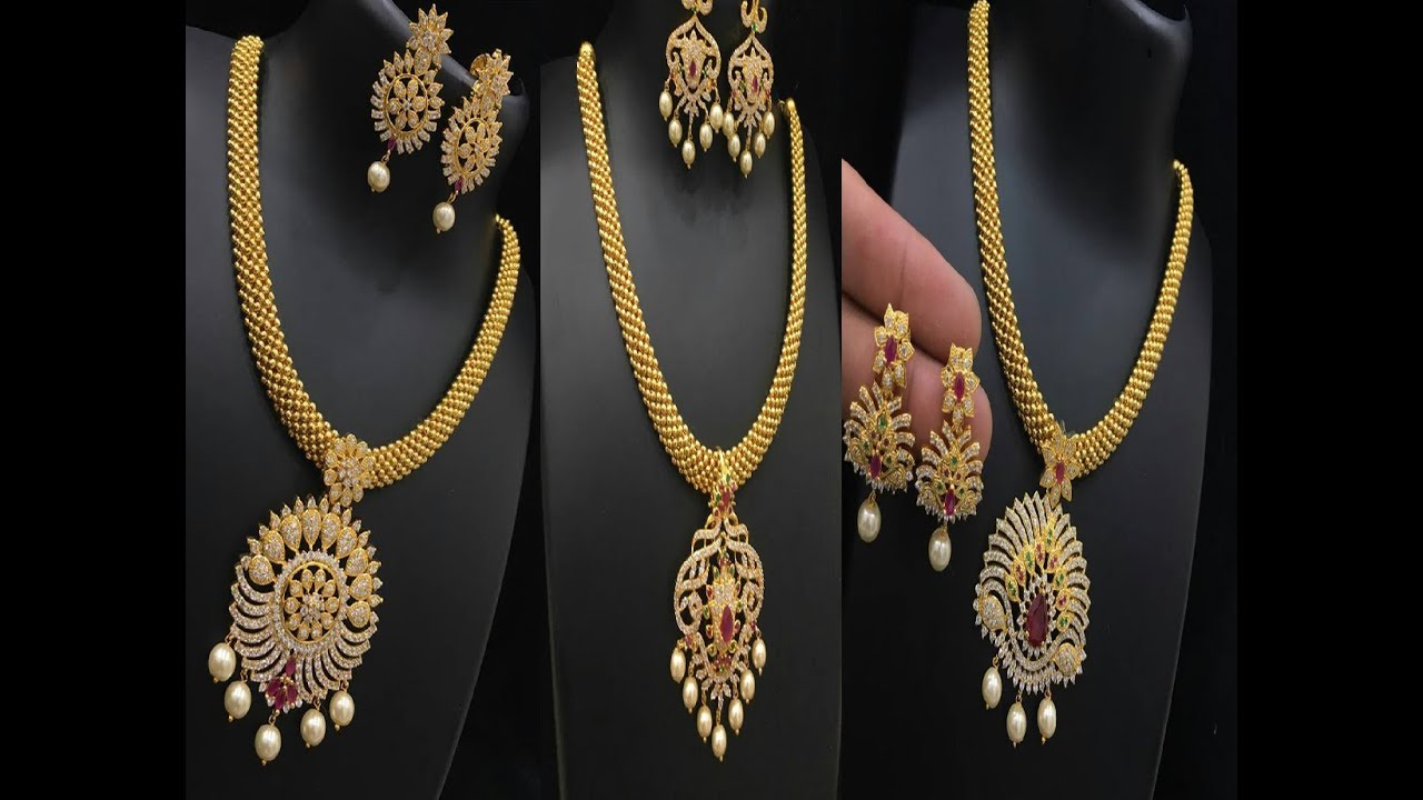 Ethnic Goldplated Designer Necklace Charm Chain Pendant Traditional Jewellery Bridal & Wedding Party Jewelry