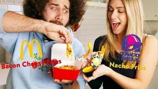 McDonald's New Bacon Cheesy Fries Vs. Taco Bell's Nacho Cheese Fries Taste Test