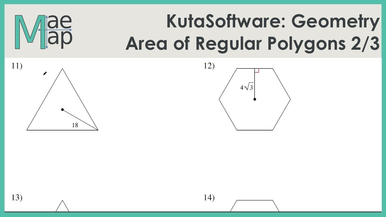Worksheets Areas Of Regular Polygons Worksheet kutasoftware geometry area of regular polygons part 2 youtube 2