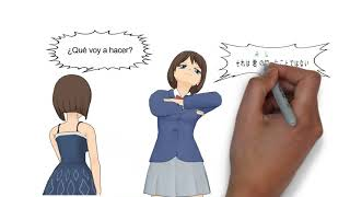 1cut4lang, (upset), learning English, Japanese, Chinese, Spanish, korean together in cartoon.