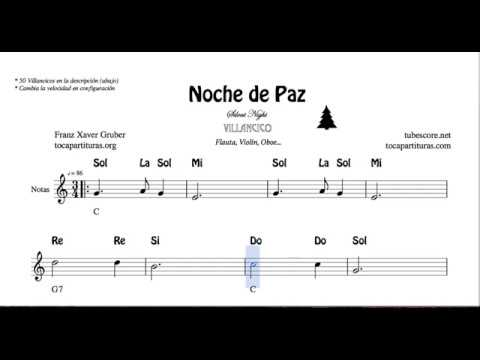 Noche De Paz Partitura Con Notas Y Acordes Flautas Violín Oboe Silent Night Villancico Youtube