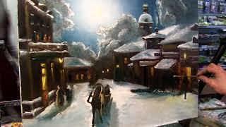 Урок живописи маслом Деревенский Пейзаж Зимой Александр Южаков