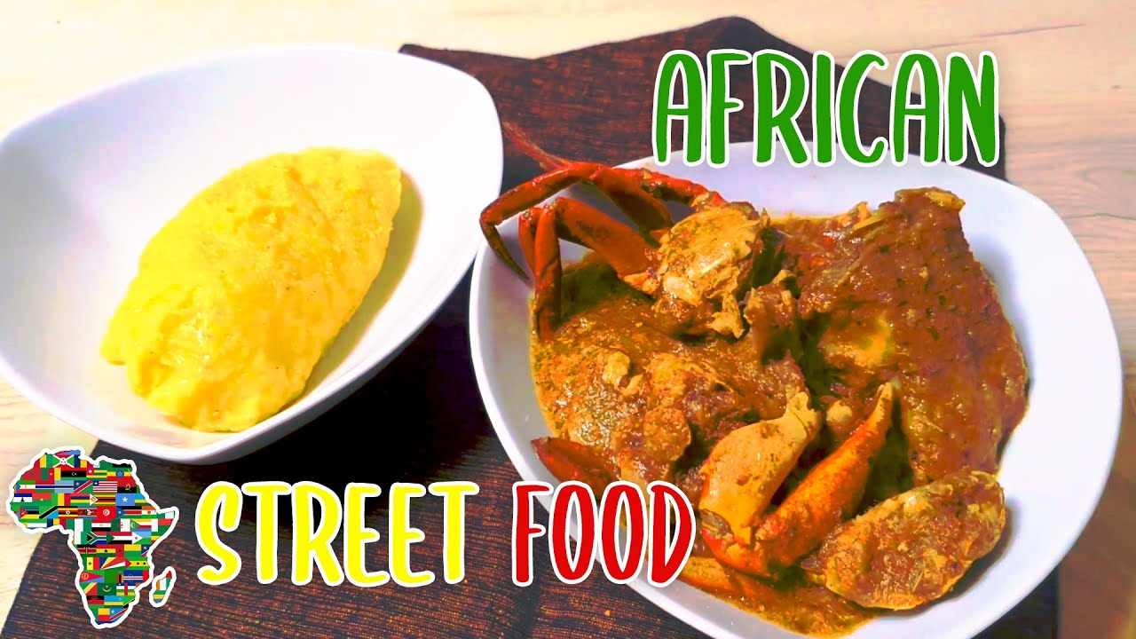 African Street Food - Okra sauce with fish and Crab & Couscous