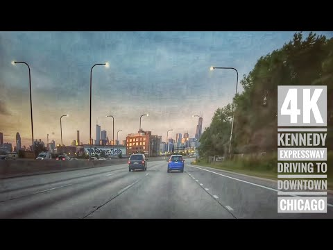 Driving To Downtown Chicago 4K Kennedy Expressway