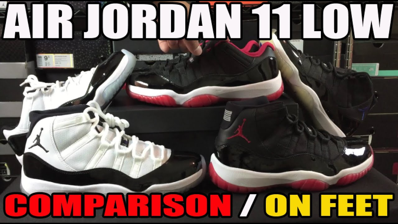 Air Jordan 11 BRED Low vs High Comparison   On Feet Review - YouTube 2c6fe68e9