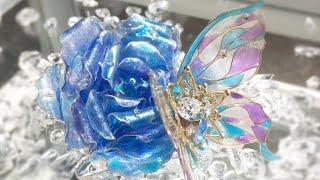 レジン×ワイヤーでブルーローズと蝶々をハンドメイド✨アメリカンフラワーをアレンジ💖How to make wire art accessory