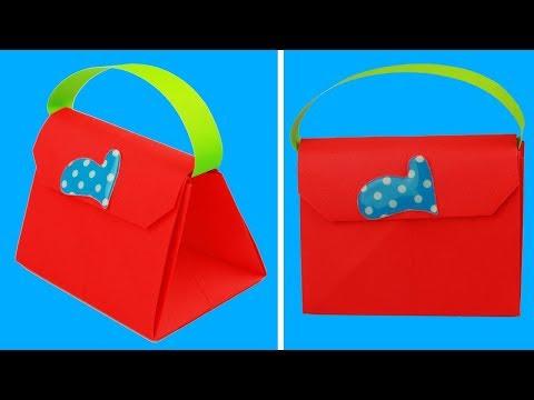 How to Make Bag with Color Paper - How to Make a Paper handbag - Easy Origami Handbag Making