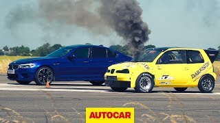 Drag Race: BMW M5 vs Diesel Seat Arosa - Which is faster? | Autocar