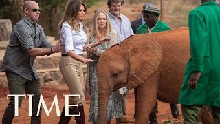 فيل يوشك أن يصدم ميلانيا ترامب في كينيا- (فيديو)